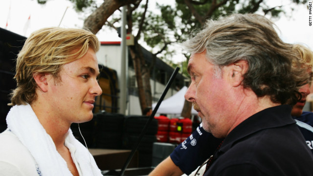 Nico, who was born in Germany, gets some one-on-one advice from Finnish father Keke. Now 63, he won the world title in 1982 with Williams.