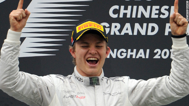 Nico Rosberg celebrates his first victory for Mercedes in the Chinese Grand Prix. He is the third son of an F1 driver to win a race, following in the footsteps of father Keke.