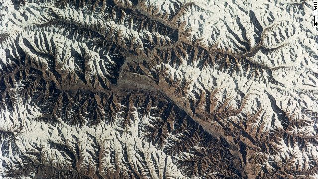The Karakoram mountains in the western Himalayas as seen from a NASA satellite. New research published in the journal Nature Geoscience is showing that some of the glaciers in the region has experiences small gains in mass in the 21st century.