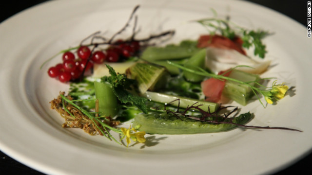The result is a raw salad from the foraged vegetables the duo picked up earlier in the day, all assembled on the plate with a painterly flourish.