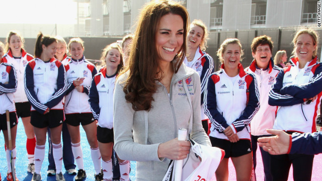 The Duchess of Cambridge, Kate Middleton, meets Great Britain's Hockey Team at London's Olympic Park on March 15, 2012.