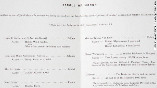 &quot;Scroll of Honor&quot; inside program, listing trees dedicated at the Garden of the Righteous Gentiles, Wilmington, Delaware, on November 16, 1981. 