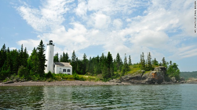 The Rock Harbor Lighthouse sits in Isle Royale National Park in Michigan. Surrounded by Lake Superior, Isle Royale provides a tranquil getaway.