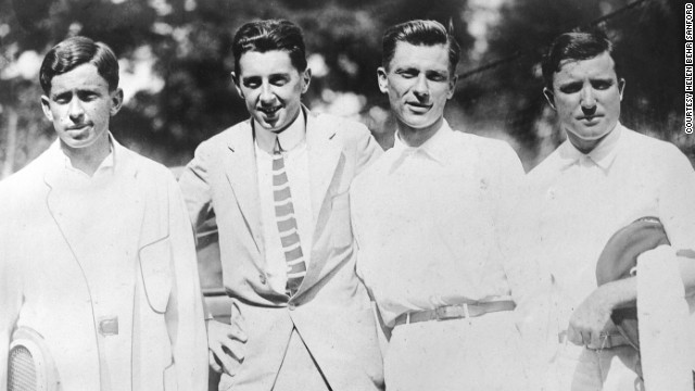 Dick Williams (center left) stands next to fellow Titanic survivor Karl Behr (center right) in a picture of the 1914 U.S. Davis Cup team.