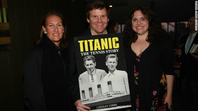 "Publisher Randy Walker and author Lindsay Gibbs (far right) at the 100th anniversary launch of ""Titanic: The Tennis Story,"" a book which recounts Behr and Williams' story using fictional passages."