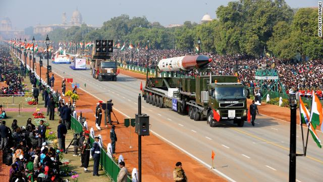 Agni IV missile is on display during the Republic Day parade in New Delhi on January 26, 2012.