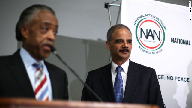 Eric Holder, right, is being slammed for his appearance last week at a rally held by the Rev. Al Sharpton's group.
