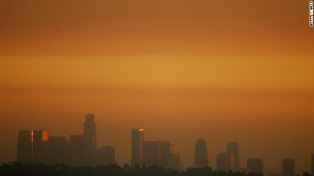 The downtown skyline of Los Angeles is enveloped in smog shortly before sunset. Ozone is a major component of smog.