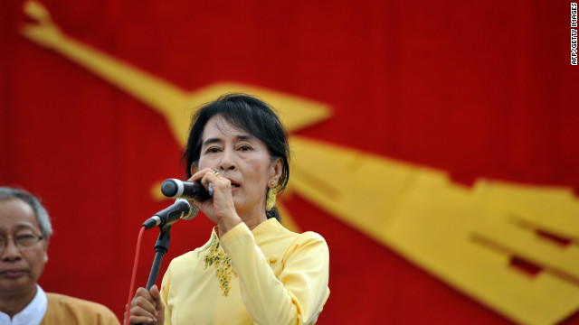 Myanmar opposition leader Aung San Suu Kyi pays a visit to her constituency in Kawhmu outside Yangon on Tuesday.