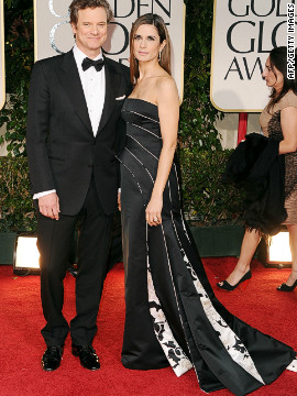 Livia and Colin Firth attend the 69th Golden Globe Awards in January 2012. The dress, created by Italian fashion house Armani, was made from recycled plastic bottles.
