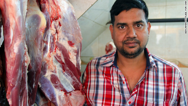 Nadeem Qureshi, 37, in his butchers shop in Nizamuddin, a predominantly Muslim neighborhood in Delhi, India on March 12. Qureshi, whose family has been in the meat industry for generations, said the bulk of Indian beef is being exported to China, Russia and the Middle East.