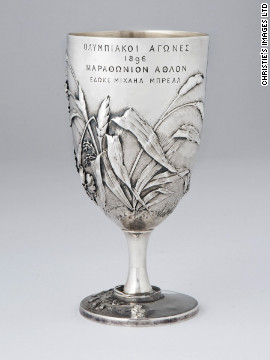 Breal's silver cup -- presented at the first modern Olympic Games in 1896 -- has sold at auction for £541,000. The cup is just 15 centimetres high but beautifully decorated in the art nouveau style.