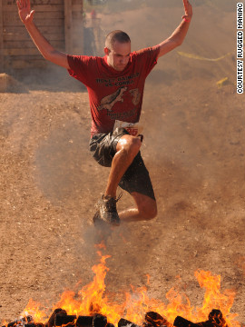 Yes, that's a guy leaping over fire. The nationwide <a href='http://www.ruggedmaniac.com/national-events.html ' target='_blank'>Rugged Maniac 5K</a> is for the more adventurous among us. It has more than 20 obstacles constructed by licensed contractors.