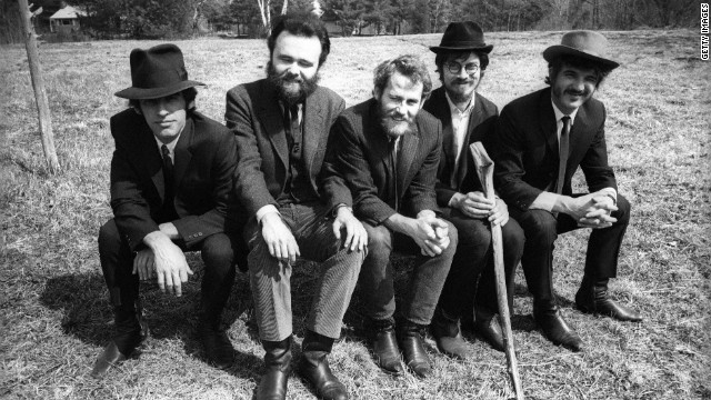 Left to right: Richard Manuel, Garth Hudson, Levon Helm, Robbie Robertson and Rick Danko pose during a &quot;Music From Big Pink&quot; session.