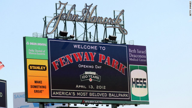 The scoreboard before the game between the Boston Red Sox and the Tampa Bay Rays during the home opener on April 13 .