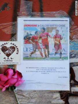Armando Picchi Stadium has become a site of mourning, with fans leaving hundreds of personal tributes to Morosini since his tragic death on April 14.<br/><br/>
