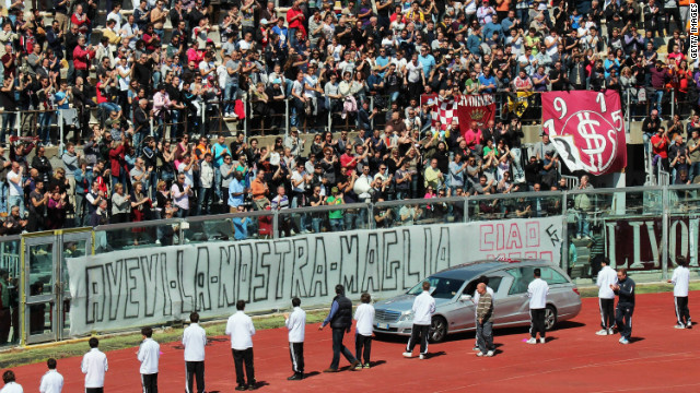 Thousands of fans packed into the ground to pay their respects to Morosini, who died after collapsing on the pitch during his side's Serie B game at Pescara.