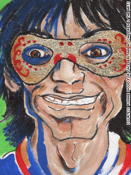 Rolling Stones rocker Ronnie Wood also provided a self-portrait.