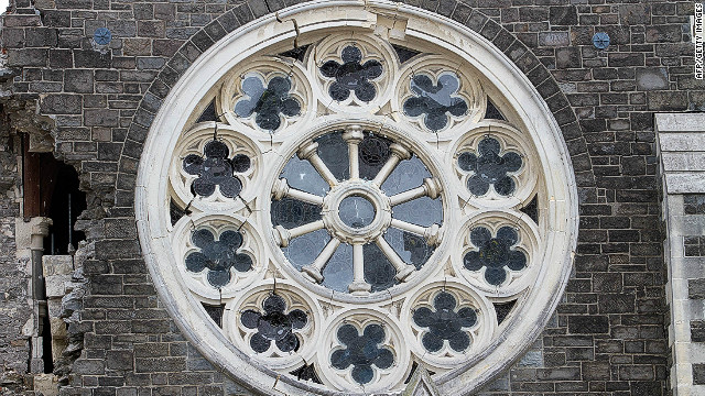 The rose window seen here before it collapsed in June 2011.