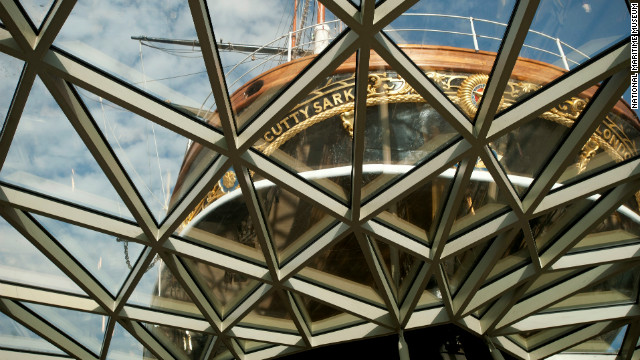 The stern of the newly restored Cutty Sark as glimpsed from below.