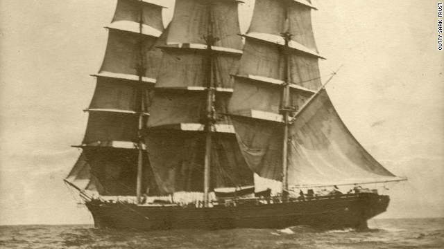 The Cutty Sark captured gracing the sea in its late nineteenth century heyday.