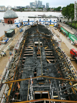The charred remains of the Cutty Sark after it was severely damaged by a fire in 2007.