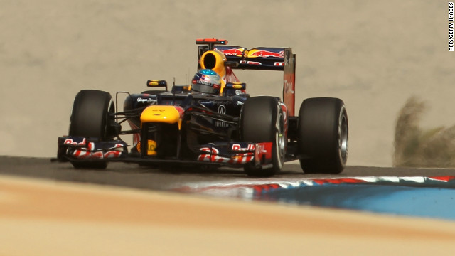 Red Bull's world champion Sebastian Vettel will start the Bahrain Grand Prix first on the grid for the second time in a row.