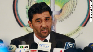 Shafiqullah Tahiri, Afghan Intelligence Agency deputy spokesman, speaks to reporters Saturday in Kabul.