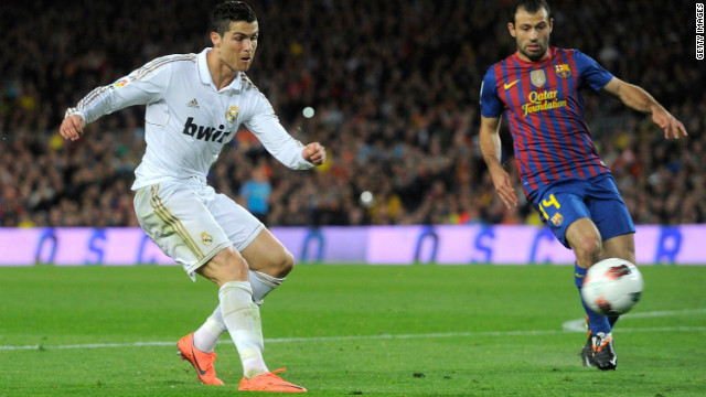 Cristiano Ronaldo, left, moved ahead of Lionel Messi with his 42nd league goal this season on Saturday.