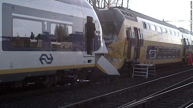 At least 125 people were injured when two passenger trains collided in Amsterdam on Saturday, April 21, 2012, national police said. 