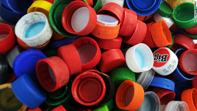 Plastics screw tops at a recycling plant in Juan Vinas, on the outskirts of San Jose, Costa Rica.