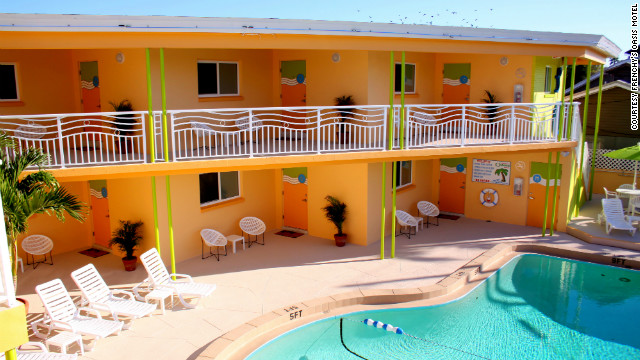 The pool area at Frenchy's Oasis Motel in Clearwater Beach, Florida. See more photos of the hotels at <a href='http://www.budgettravel.com/slideshow/photo-florida-gulf-coast-hotels,8383/' target='_blank'>BudgetTravel.com</a>.