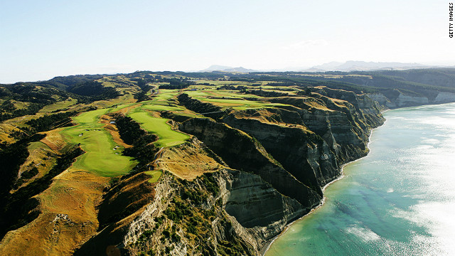 Located in New Zealand's Hawkes Bay province, the Cape Kidnappers Golf course is considered one of the most beautiful and enchanting in the world. High up on the cliffs and overlooking the picturesque view, players must negotiate the deep gullies and crevices between each hole.