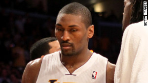 Metta World Peace (the former Ron Artest) leaves the court after being ejected from the game Sunday.