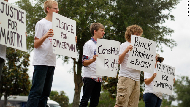 People rally to support constitutional rights for both George Zimmerman and Trayvon Martin on April 21 in Sanford, Florida. 