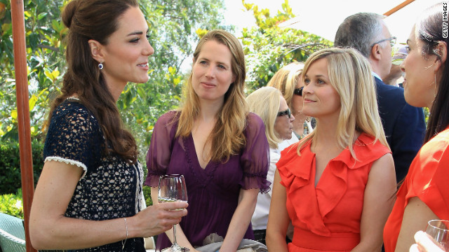 "Kate meets Reese Witherspoon in Los Angeles: ""I think the thing for me, which really struck me about this moment was having a chat with Reese [Witherspoon] before, she seemed so excited about meeting Catherine. This is someone who mixes with Hollywood royalty every day. But meeting actual royalty was just an incredible thing for her."""