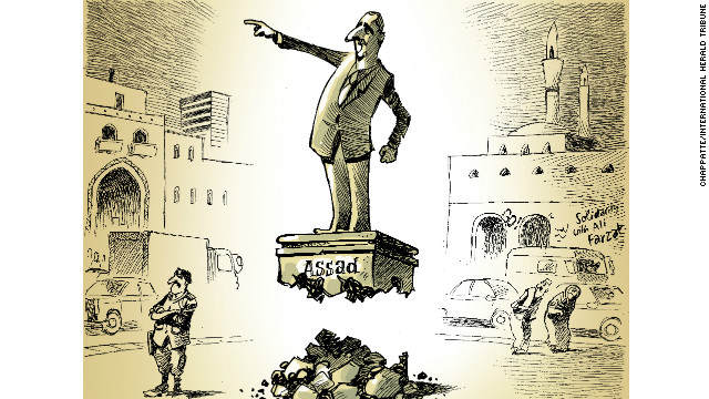 """""""Only a cartoon allows for an image like this, which defies gravity. The cartoon language can convey a message lightly. And you can interpret it in two ways: 'he's still standing' or 'his credibility is eroded and he'll be out soon.' You don't need to explain, you see the cartoon and feel it."""""""
