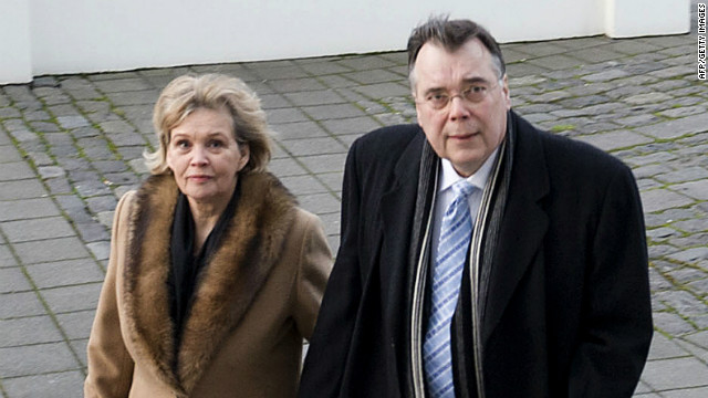 Iceland's ex-Prime Minister Geir Haarde and his wife, Inga Jona Thordardottir, arrive at a Reykjavik court in March. 