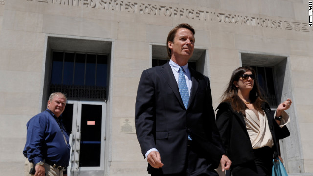 Former Sen. John Edwards leaves the courthouse after the first day of jury selection in his trial in Greensboro, North Carolina.