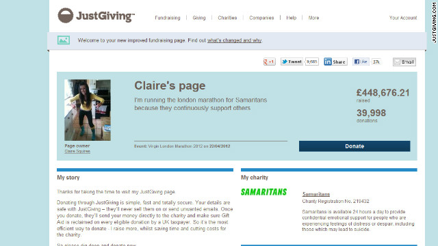 More than £400,000 ($650,000) has been donated to Claire Squire's Just Giving page as of Tuesday afternoon. Thousands of pounds were being pledged every few minutes as the link circulated on social media sites.