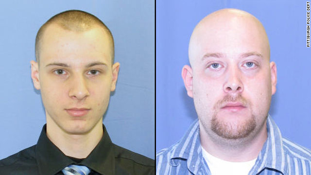 Kenneth Konias Jr., 22, left, is wanted in connection with the shooting death of Michael Haines, 31, right.