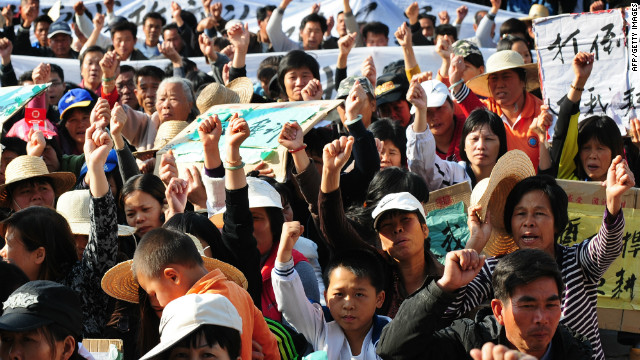 Thousands of residents took to the streets of Wukan in 2011 protesting the seizure of land.