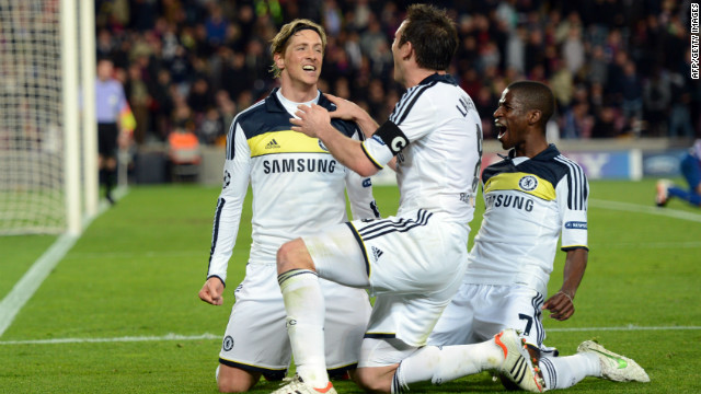 As Barcelona push forward, Torres goes clean through, rounds the keeper and Chelsea wrap up a 3-2 win.