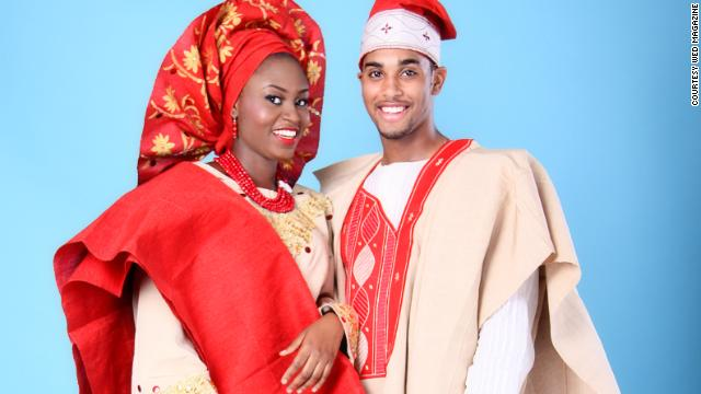 "Models wear traditional Nigerian attire known as ""aso oke"" for a photo shoot for Wed Magazine. Aso oke is hand-woven fabric worn at weddings, funerals and other formal occasions."