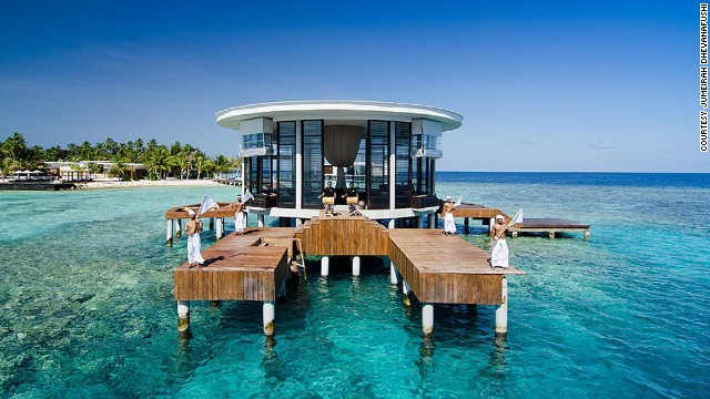 "If there were a pictographic encyclopedia of the world, this is what you'd see under the ""dream honeymoon"" entry -- a villa in the middle of Maldives' crystal clear water. Things could get even more spectacular, if this <a href='http://edition.cnn.com/2013/06/10/travel/space-age-underwater-hotel-maldives/index.html'>underwater, space-age hotel</a> ever gets built."