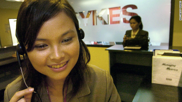 With an estimated 400,000 call center staff, the Philippines has overtaken India as the Asian hub of call centers. U.S. companies prefer to outsource customer calls to Filipino agents speaking lightly-accented fluent American English.