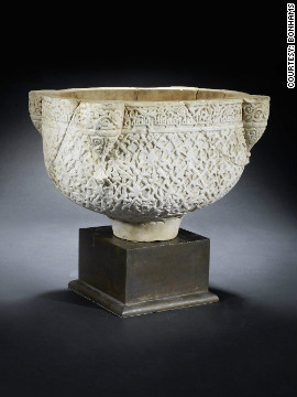 This intricately carved marble basin was made in Syria in the 12th century, and would originally have stood in a mosque or other public building. It went under the hammer for $312,400 at Bonhams auction house.