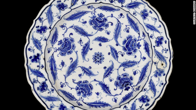 This blue and white dish, covered in stylized peonies and leaves, was made in the Turkish town of Iznik, famed for its pottery, in about 1570. It sold for £61,250 at Bonhams.