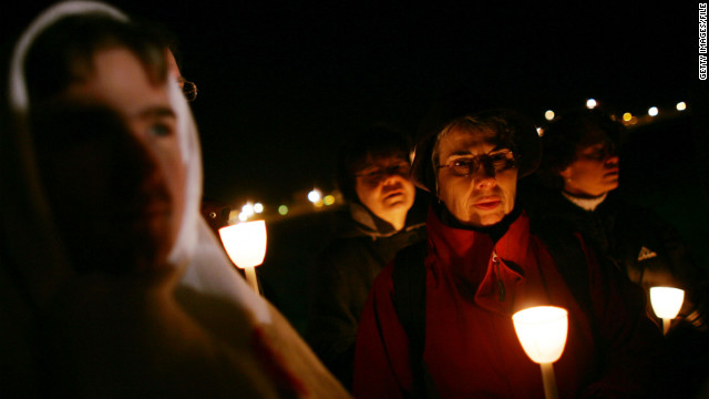 Death penalty protesters hold a candlelight vigil after the 2005 execution of serial killer Michael Ross in Enfield, Connecticut.
