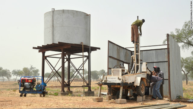 One of the four boreholes at the camp collapsed last week -- aid workers are now desperately drilling to try and find new water sources.